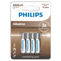 PHILIPS ALKALINE BATTERY AAA LR03 4 PACK