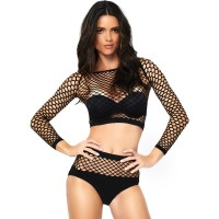 LEG AVENUE 2 PIECES SET NET LONG SLEEVED TOP AND HIGH WAISTED ONE SIZE