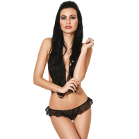 LE FRIVOLE - 04329 CROTCHLESS THONG WITH RUFFLES M/L