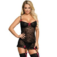 SUBBLIME CHEMISE-GARTER BELT WITH PINK BOWS S/M
