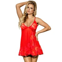 SUBBLIME FLORAL LACES BABYDOLL RED L/XL