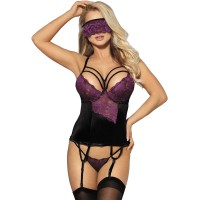 Корсет SUBBLIME CORSET THONG AND BLINDFOLD BLACK AND PURPLE S/M
