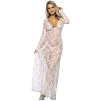 SUBBLIME LONG SLEEVE LONG DRESS WHITE S/M