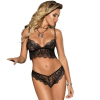 SUBBLIME BRA AND PANTIES SET BLACK S/M