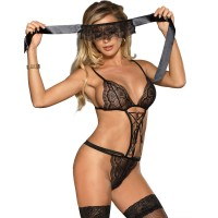 Секси боди SUBBLIME TEDDY AND BLINDFOLD BLACK S/M