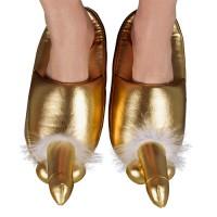 Забавни златисти чехли с пениси отпред за шегаджии